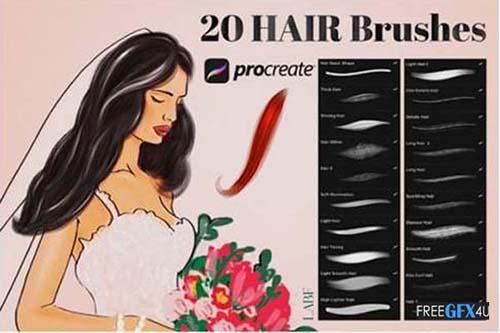 20 Hair Brushes for Procreate