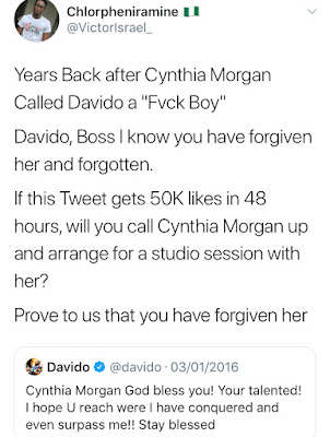 davido and cynthia morgan