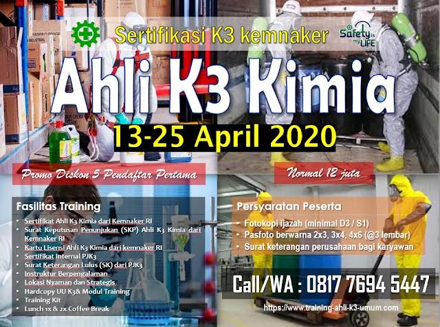 Ahli K3 Kimia kemnaker tgl. 13-25 April 2020 di Jakarta
