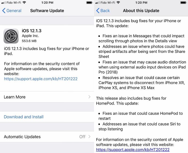 iOS 12.1.3 Final Features Changelog