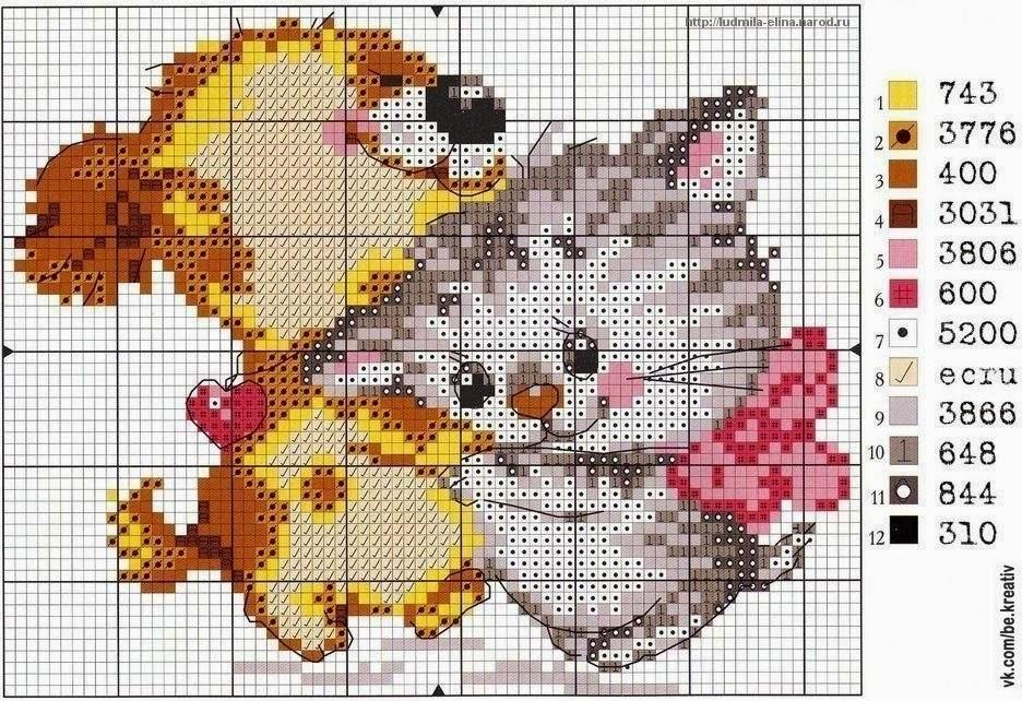 Щенок и котенок. Схема вышивки бесплатно