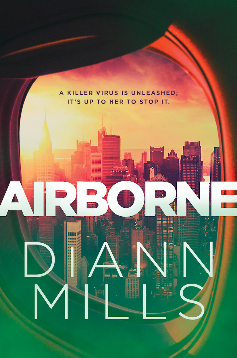 Airborne Book Cover: view of cityscape through airplane window, glaring sun in top left.