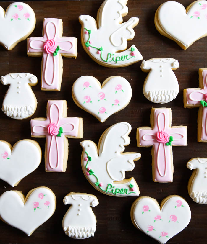Girl Baptism Decorated Cookies