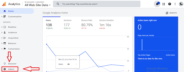 find admin in google analytics, admin , google analytics , google analytics for youtube