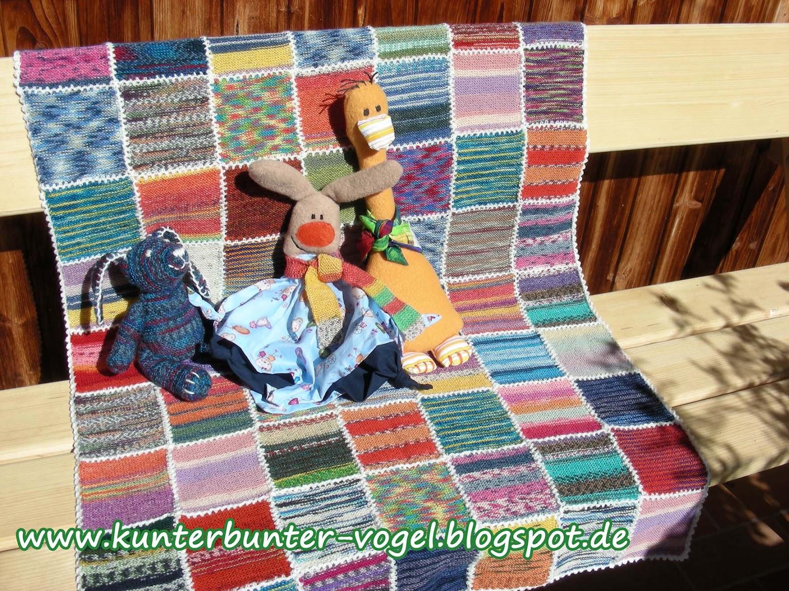 kunterbunter vogel anleitung babydecke aus sockenwollresten. Black Bedroom Furniture Sets. Home Design Ideas