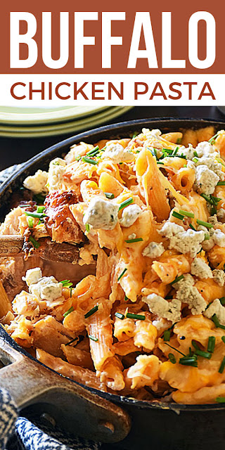 Cheesy Buffalo Chicken Pasta all in one skillet recipe on Pinterest