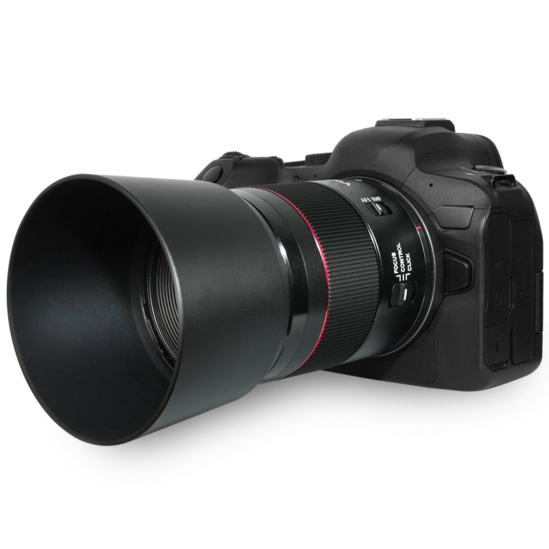 Yongnuo YnLens YN 85mm f/1.8R DF DSM AF с блендой и камерой