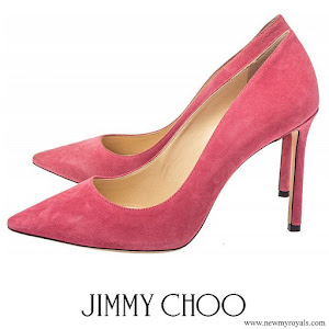 Crown Princess Mary wore JIMMY CHOO Pre-owned Pink Suede Romy Pointed Toe Pumps