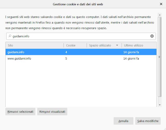 Schermata impostazioni Firefox Gestione dati e cookie dei siti web