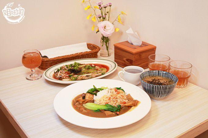 鳳山新開幕的蔬食餐廳,蚵仔煎表皮軟嫩又對味,咖哩飯搭配猴頭菇太誘人!-袈晨蔬食