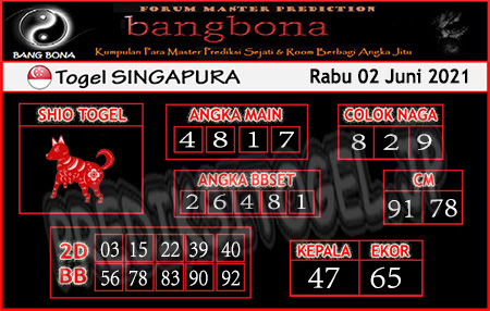 Prediksi Bangbona SGP Rabu 02 Juni 2021