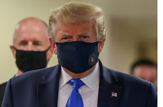 President Donald Trump has put on face mask in the public for the first time since the novel coronavirus [ Covid-19] pandemic which began in Wuhan, China, in December.