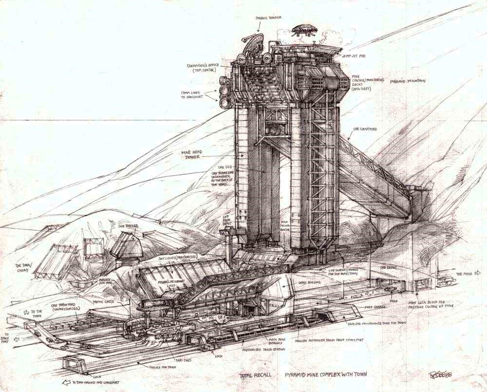 Pyramid mine complex concept for Total Recall (1990) movie by Ron Cobb.