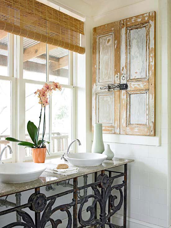 Lindas idéias para bancadas e armários de banheiro