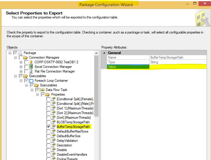 What is BufferTempStoragePath Property in SSIS, Configure