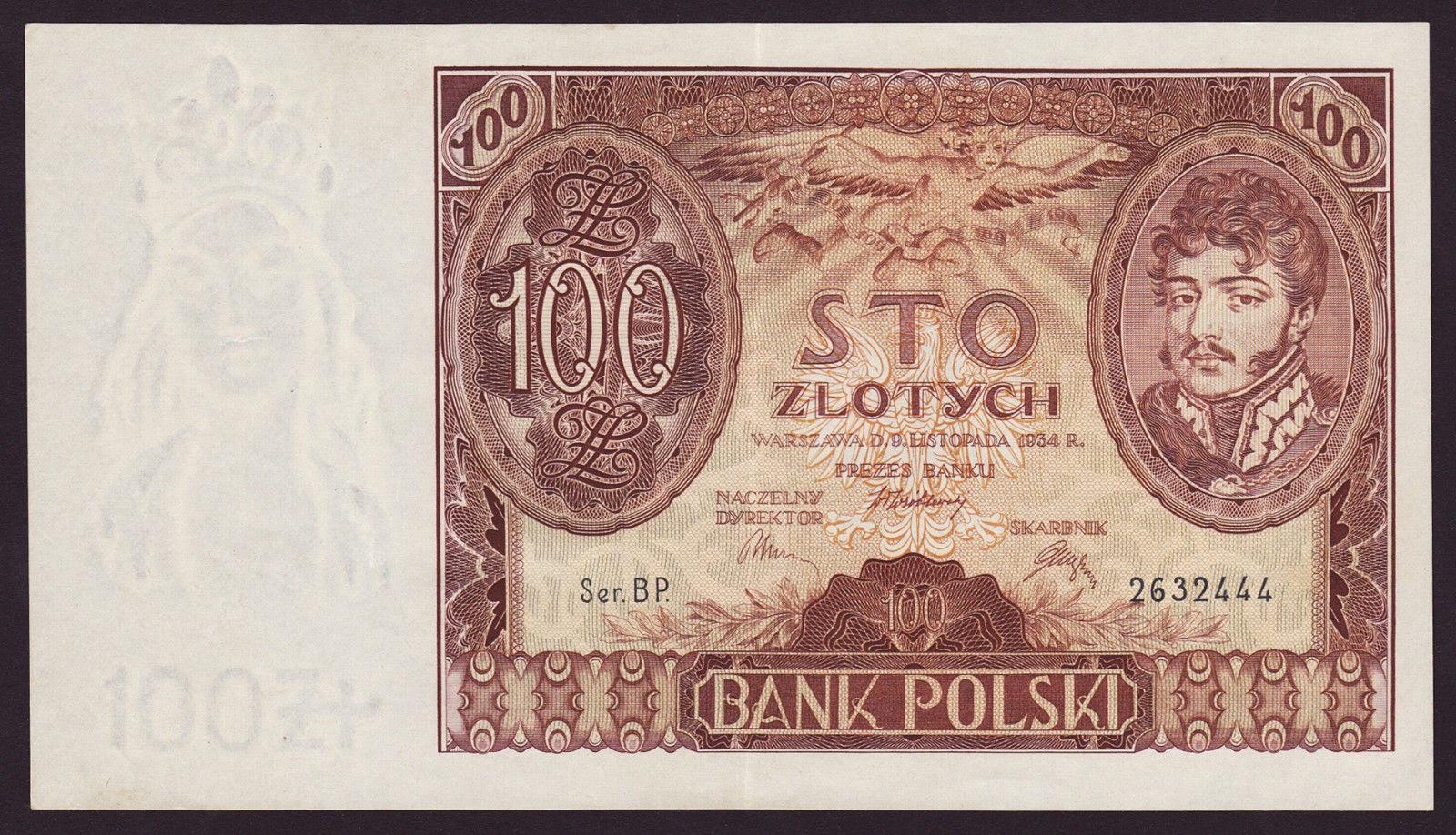Poland Banknotes 100 Zloty banknote 1934 Prince Jozef Poniatowski
