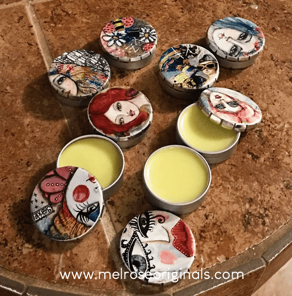 image on counter of Melrose Originals tins filled with DIY beeswax lip balm