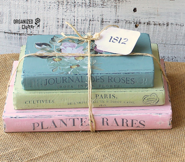 Stack of Shabby Chic decorated books