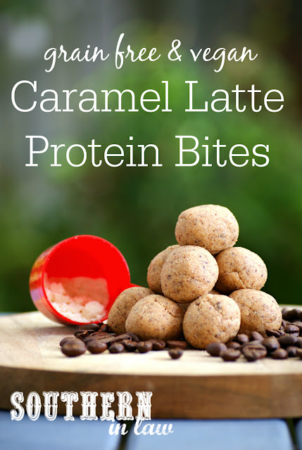 Healthy Caramel Latte Protein Bites Recipe - low carb, gluten free, vegan, refined sugar free, no bake snack recipes, bliss balls, clean eating recipes, grain free, paleo, peanut free