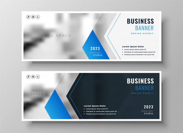 Elegant blue modern business banner design template Free Vector