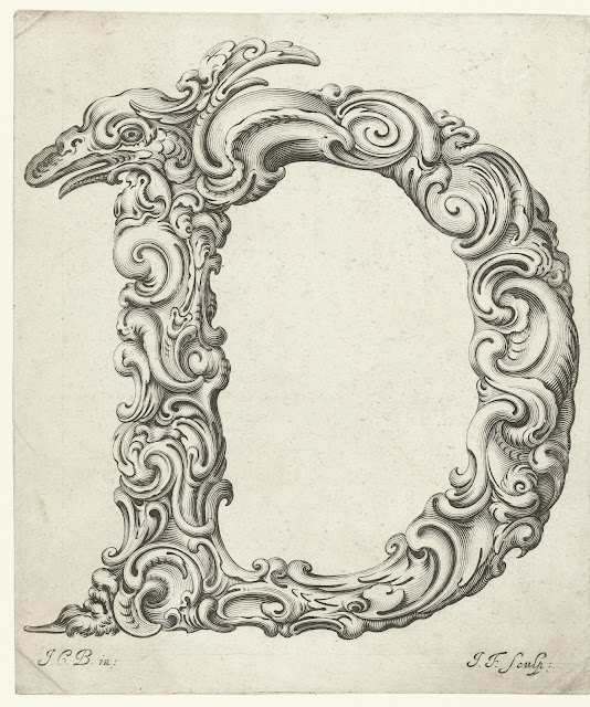 Print of the Capital D engraving from Libellus Novus Elementorum Latinorum by Jeremias Falck after Johann Christian Bierpfaf, c. 1650, Rijksmuseum Collection