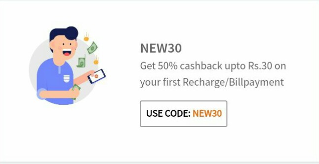 Freecharge offer-get 50% cashback upto 30 on mobile recharge.