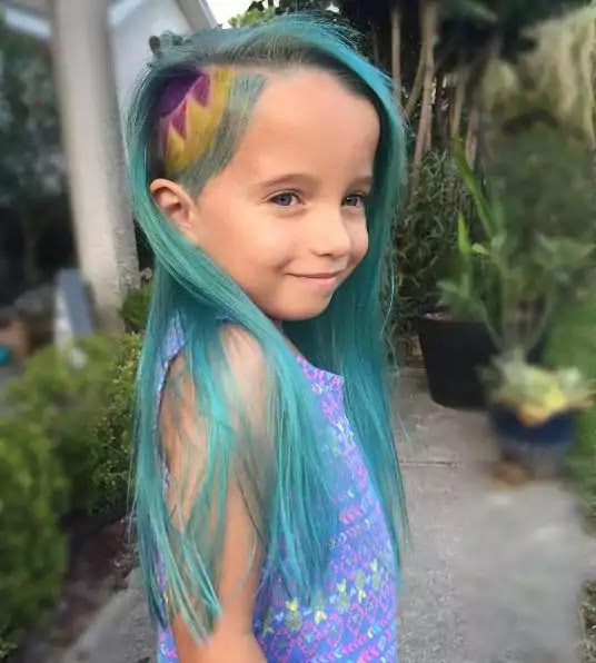 blue feathered hair color for kids