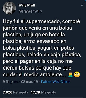 Tweet sobre los cuidados del medio ambiente