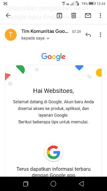 contoh tampilan pesan surel pertama yang diterima akun email yang baru saja dibuat.  Pesan berisi ucapan selamat dari Google.
