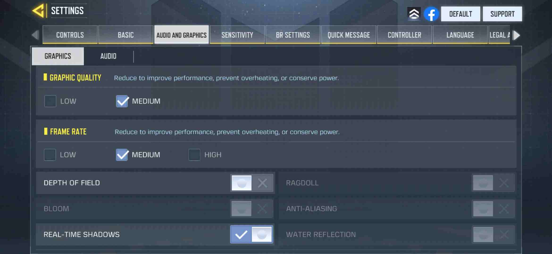 Battle royale Graphic settings cod mobile