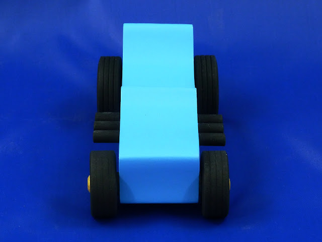 Front - Wooden Toy Car - Hot Rod Freaky Ford - 27 T Bucket - MDF - Blue - Black - Gold