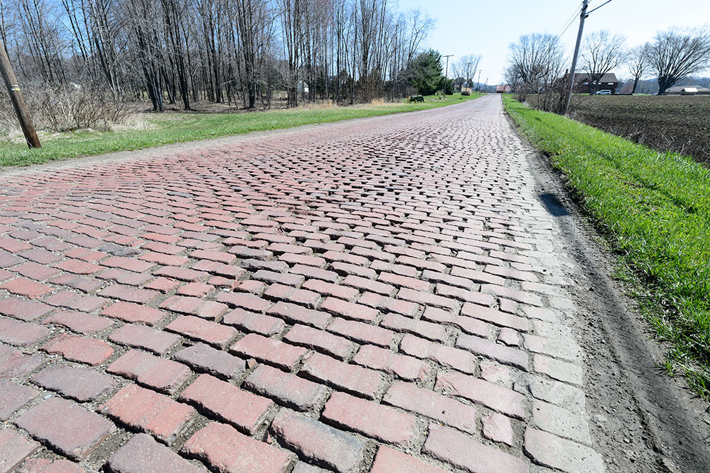 Original brick paving on the Lincoln Highway