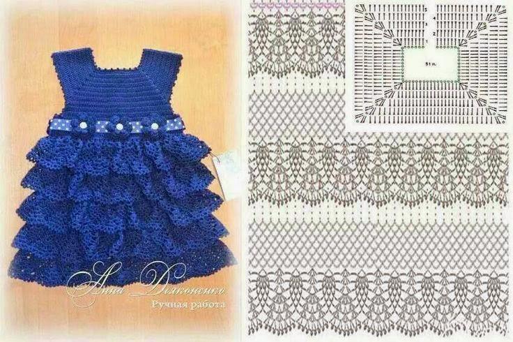 Vestido de nena con volados | Crochet y Dos agujas - Patrones de tejido
