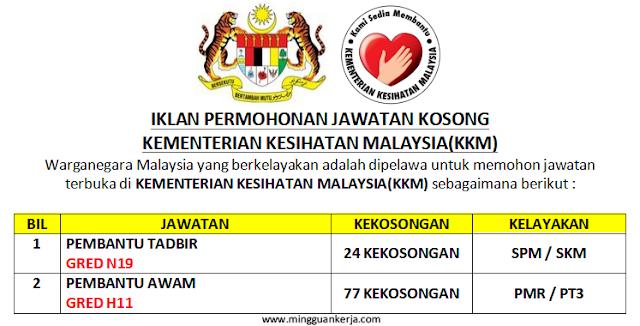 Terkini! 101 Kekosongan Jawatan Taraf SPM / PMR Pembantu Awam Seluruh Negara Kementerian Kesihatan Malaysia (KKM) Ogos - September 2019