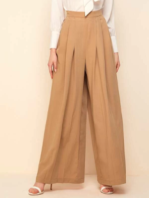 SHEIN High Waist Pleated Culottes Pants