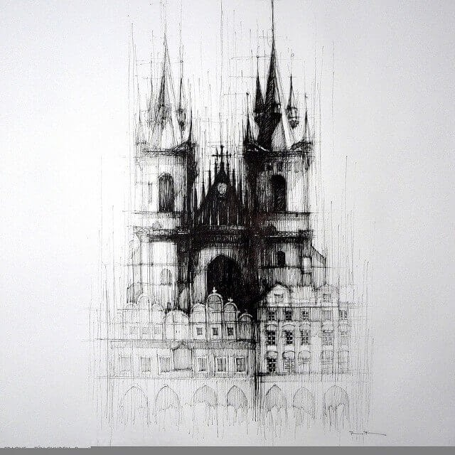 09-Prague-Tyn-Church-Czech-Republic-Pavel-Filgas-Urban-Drawings-Architecture-on-our-Streets-www-designstack-co