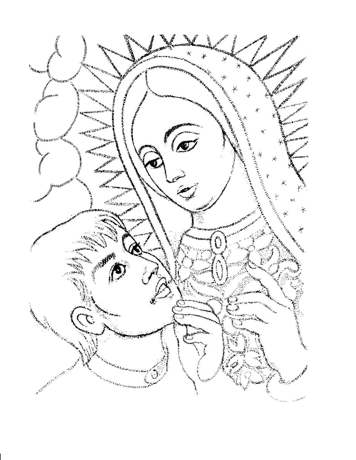 COLOREA TUS DIBUJOS: Dibujo de Virgen de Guadalupe y Juan Diego para ...