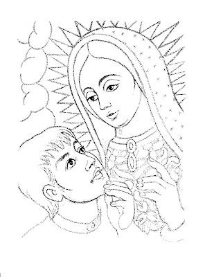 Dibujo De Virgen De Guadalupe Y Juan Diego Para Colorear 4 Dibujo