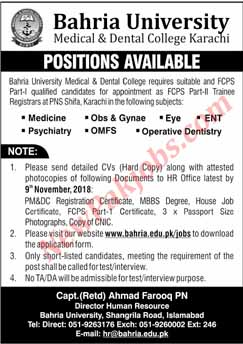 Baharia University Medical and Detnal Karachi - Today Jobs