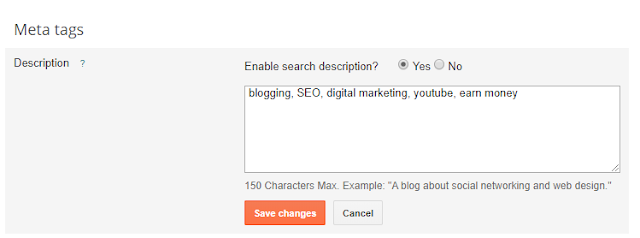 add meta tag description in blogger