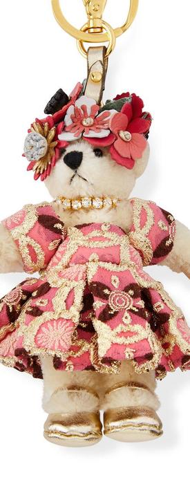 Prada Flower-Crown Bear Charm for Handbag, White/Multi