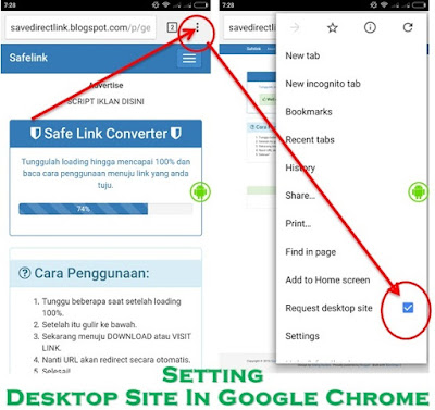 setting desktop site in google chrome