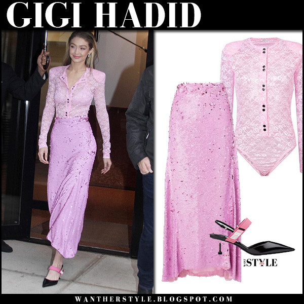 Gigi Hadid in pink lace top and pink skirt nina ricci on The Today Show cute feminine outfit november 13 2017