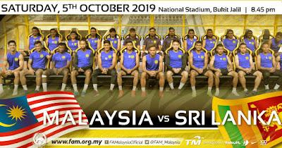 Live Streaming Malaysia vs Sri Lanka (Persahabatan) 5.10.2019