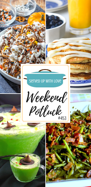 Weekend Potluck featured recipes include Monster Munch, Cinnamon Roll Pancakes, Magic Green Beans, Melting Witch Halloween Punch, and more.