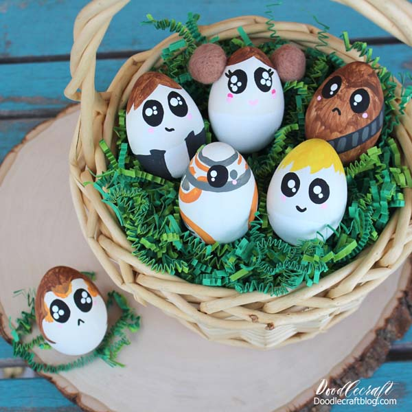 Make the cutest Easter eggs as Kawaii themed Star Wars Characters. Use fake eggs so you can decorate with them forever!
