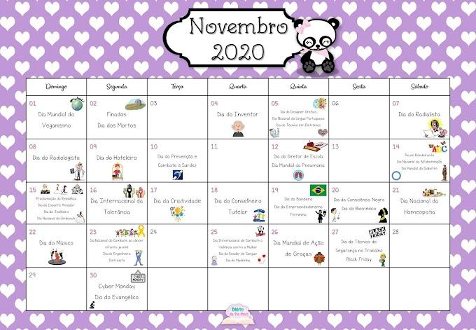 Calendário Comemorativo - Novembro de 2020