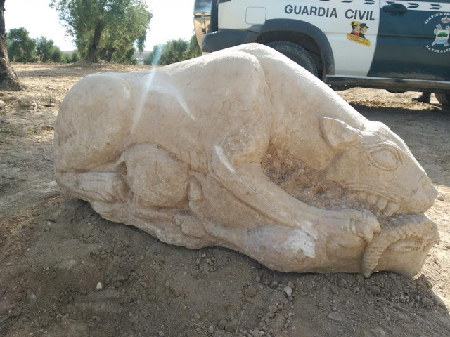 Spanish farmer finds 3,000 years old lion sculpture while ploughing his olive grove