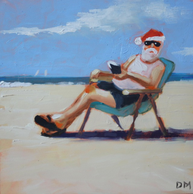 painting of Santa sitting in beach chair at the beach, santa claus at the beach