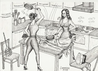 a spanking in the kitchen
